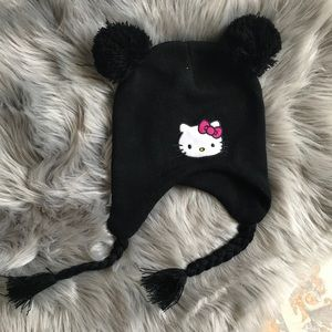 EUC Hello Kitty Beanie with PuffBall Ears